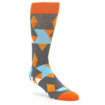Image of Grey Orange Blue Kaleidoscope Men's Dress Socks (side-1-27)