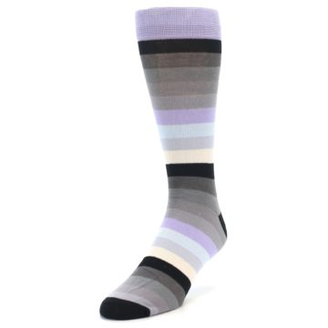 Image of Lilac Grey Stripe Men's XL Dress Socks (side-2-front-07)
