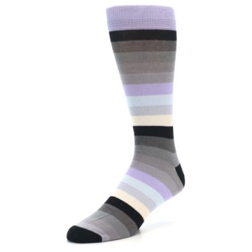 Image of Lilac Grey Stripe Men's XL Dress Socks (side-2-front-08)