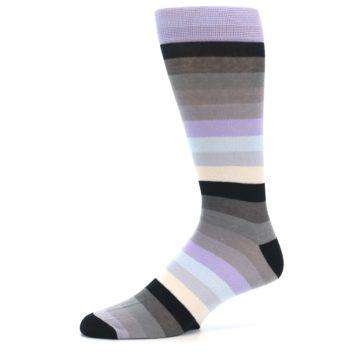 Image of Lilac Grey Stripe Men's XL Dress Socks (side-2-10)