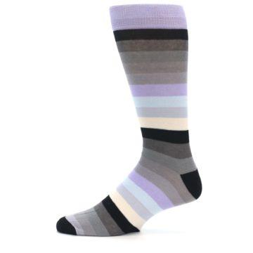 Image of Lilac Grey Stripe Men's XL Dress Socks (side-2-11)