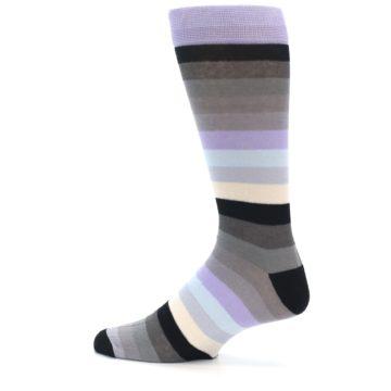 Image of Lilac Grey Stripe Men's XL Dress Socks (side-2-12)