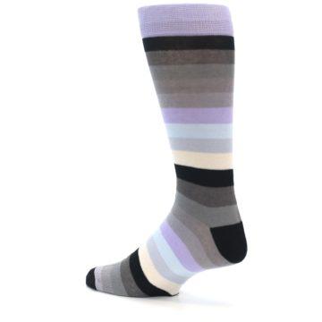 Image of Lilac Grey Stripe Men's XL Dress Socks (side-2-13)