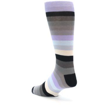 Image of Lilac Grey Stripe Men's XL Dress Socks (side-2-back-14)