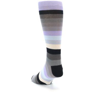 Image of Lilac Grey Stripe Men's XL Dress Socks (side-2-back-15)