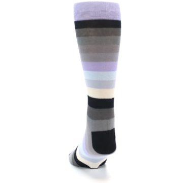 Image of Lilac Grey Stripe Men's XL Dress Socks (side-2-back-16)
