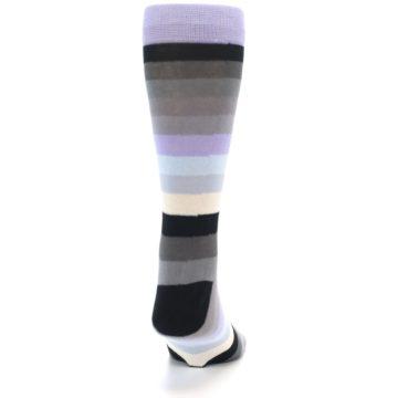 Image of Lilac Grey Stripe Men's XL Dress Socks (back-18)