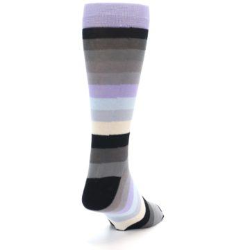 Image of Lilac Grey Stripe Men's XL Dress Socks (back-19)