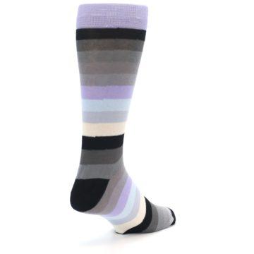 Image of Lilac Grey Stripe Men's XL Dress Socks (side-1-back-20)