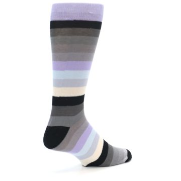 Image of Lilac Grey Stripe Men's XL Dress Socks (side-1-back-21)
