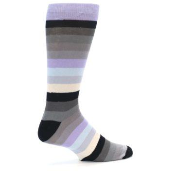 Image of Lilac Grey Stripe Men's XL Dress Socks (side-1-back-22)