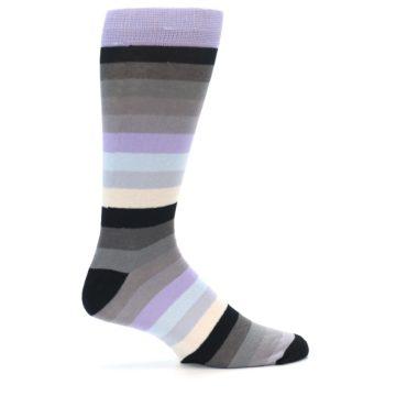 Image of Lilac Grey Stripe Men's XL Dress Socks (side-1-23)