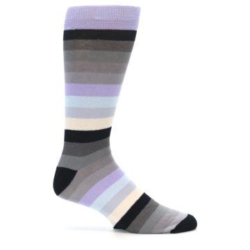 Image of Lilac Grey Stripe Men's XL Dress Socks (side-1-24)