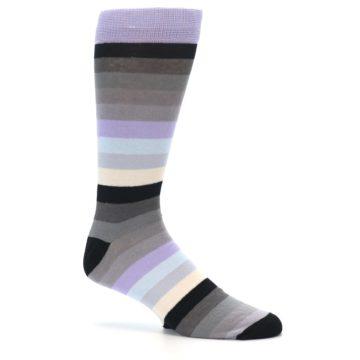Image of Lilac Grey Stripe Men's XL Dress Socks (side-1-25)