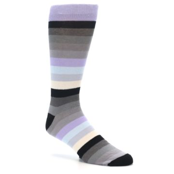 Image of Lilac Grey Stripe Men's XL Dress Socks (side-1-26)