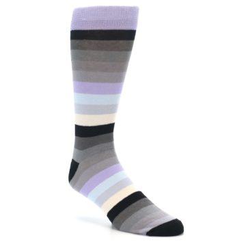 Image of Lilac Grey Stripe Men's XL Dress Socks (side-1-27)