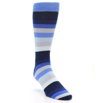 Image of Navy Blue Grey Stripe Men's XL Dress Socks (side-1-front-02)