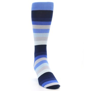 Image of Navy Blue Grey Stripe Men's XL Dress Socks (side-1-front-03)
