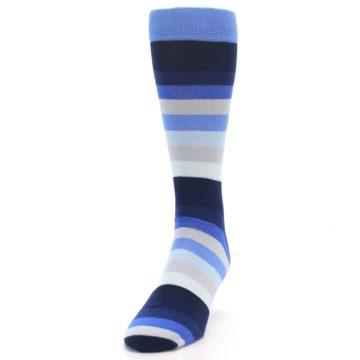 Image of Navy Blue Grey Stripe Men's XL Dress Socks (side-2-front-06)