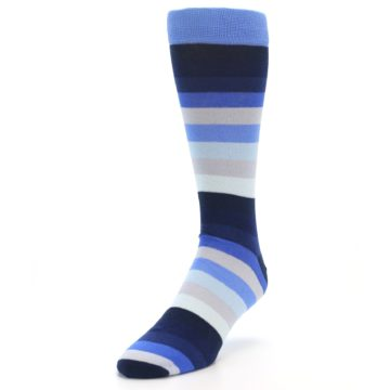 Image of Navy Blue Grey Stripe Men's XL Dress Socks (side-2-front-07)