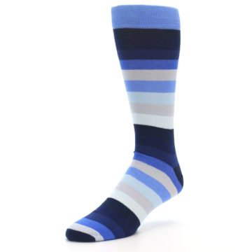 Image of Navy Blue Grey Stripe Men's XL Dress Socks (side-2-front-08)