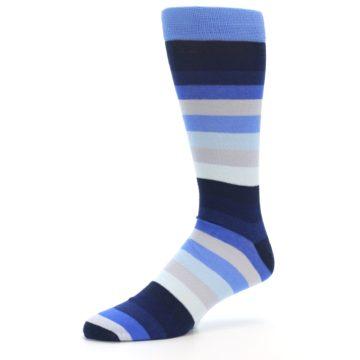 Image of Navy Blue Grey Stripe Men's XL Dress Socks (side-2-09)