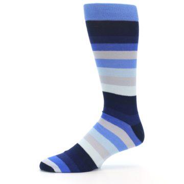 Image of Navy Blue Grey Stripe Men's XL Dress Socks (side-2-10)