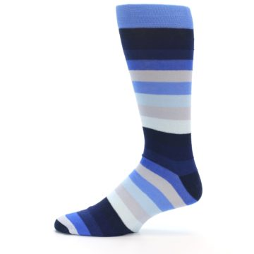 Image of Navy Blue Grey Stripe Men's XL Dress Socks (side-2-11)