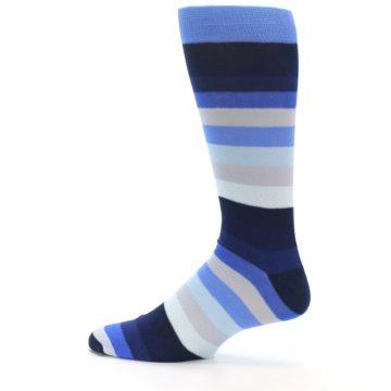 Image of Navy Blue Grey Stripe Men's XL Dress Socks (side-2-12)