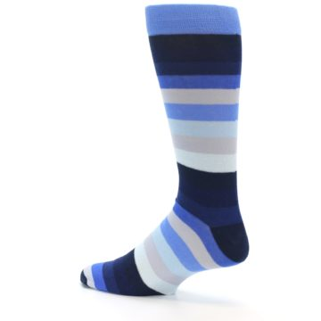 Image of Navy Blue Grey Stripe Men's XL Dress Socks (side-2-13)
