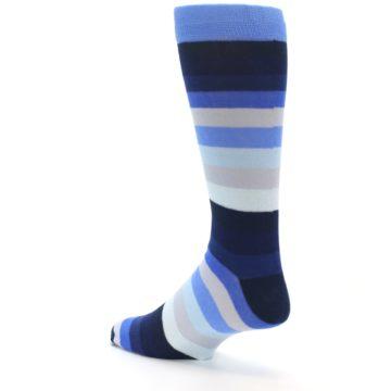 Image of Navy Blue Grey Stripe Men's XL Dress Socks (side-2-back-14)
