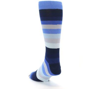 Image of Navy Blue Grey Stripe Men's XL Dress Socks (side-2-back-15)