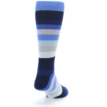 Image of Navy Blue Grey Stripe Men's XL Dress Socks (back-19)