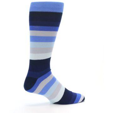 Image of Navy Blue Grey Stripe Men's XL Dress Socks (side-1-back-22)