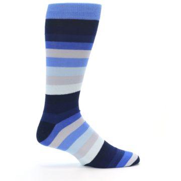 Image of Navy Blue Grey Stripe Men's XL Dress Socks (side-1-23)