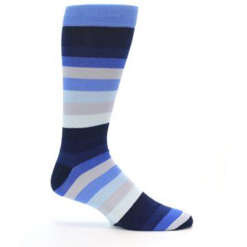 Image of Navy Blue Grey Stripe Men's XL Dress Socks (side-1-24)