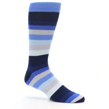 Image of Navy Blue Grey Stripe Men's XL Dress Socks (side-1-25)