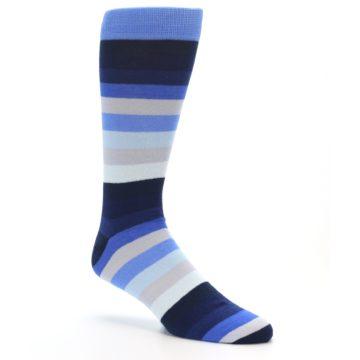 Image of Navy Blue Grey Stripe Men's XL Dress Socks (side-1-26)