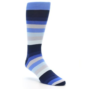 Image of Navy Blue Grey Stripe Men's XL Dress Socks (side-1-27)