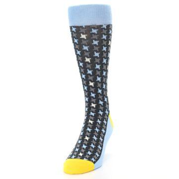 Image of Light Blue Grey Houndstooth Men's Dress Socks (side-2-front-06)