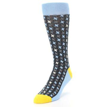 Image of Light Blue Grey Houndstooth Men's Dress Socks (side-2-front-07)