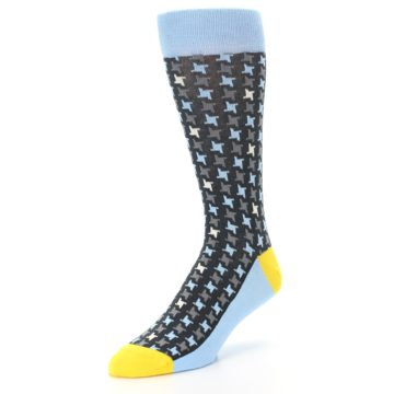 Image of Light Blue Grey Houndstooth Men's Dress Socks (side-2-front-08)