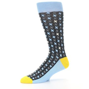 Image of Light Blue Grey Houndstooth Men's Dress Socks (side-2-10)