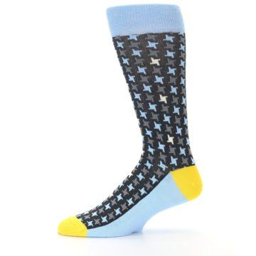 Image of Light Blue Grey Houndstooth Men's Dress Socks (side-2-11)