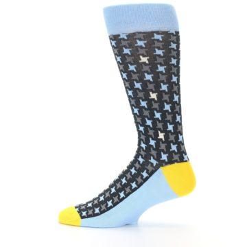 Image of Light Blue Grey Houndstooth Men's Dress Socks (side-2-12)