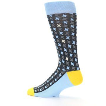 Image of Light Blue Grey Houndstooth Men's Dress Socks (side-2-13)