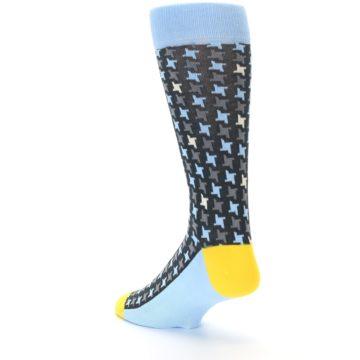 Image of Light Blue Grey Houndstooth Men's Dress Socks (side-2-back-15)