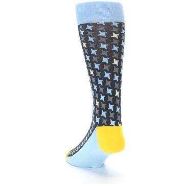 Image of Light Blue Grey Houndstooth Men's Dress Socks (side-2-back-16)
