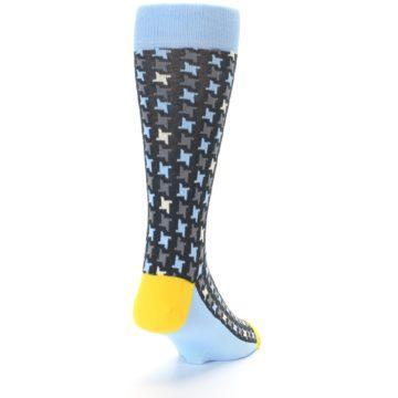 Image of Light Blue Grey Houndstooth Men's Dress Socks (side-1-back-20)
