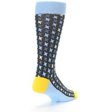 Image of Light Blue Grey Houndstooth Men's Dress Socks (side-1-back-21)